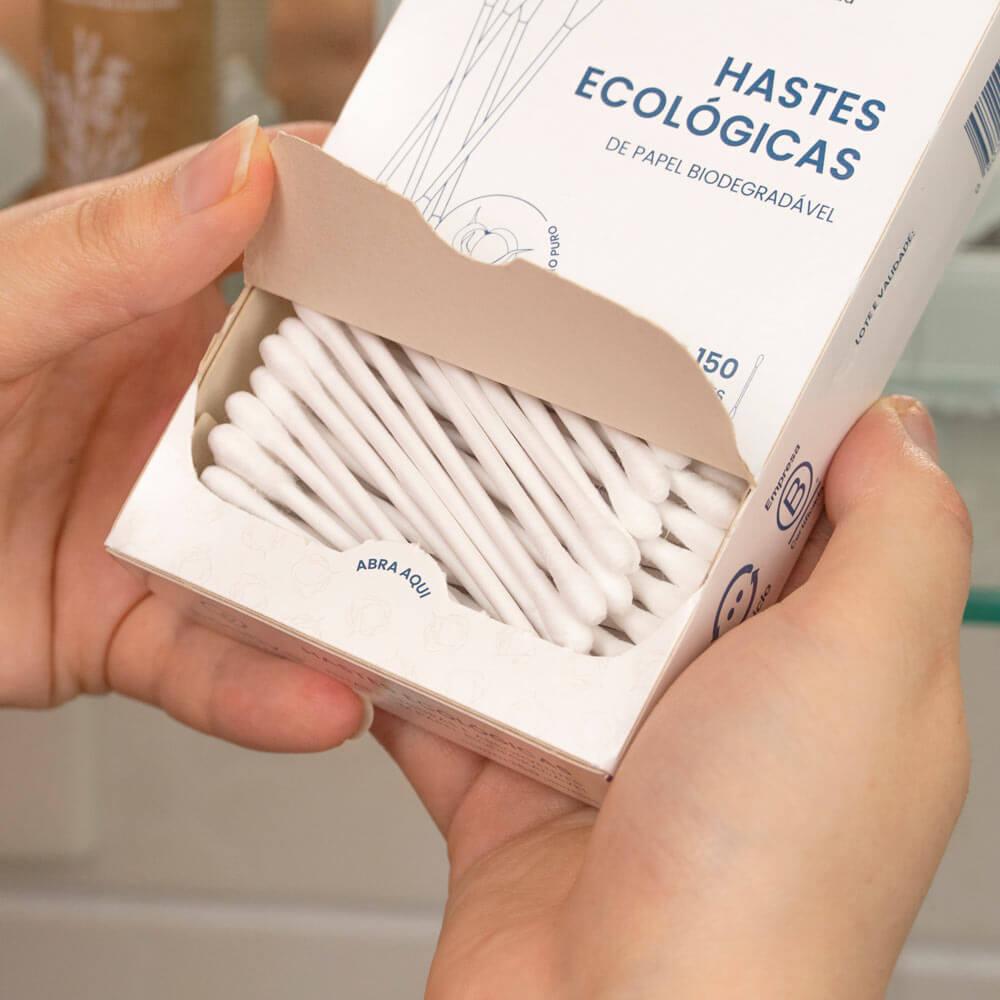 Hastes Flexíveis Ecológicas de Papel Biodegradável 150 unidades - POSITIVA