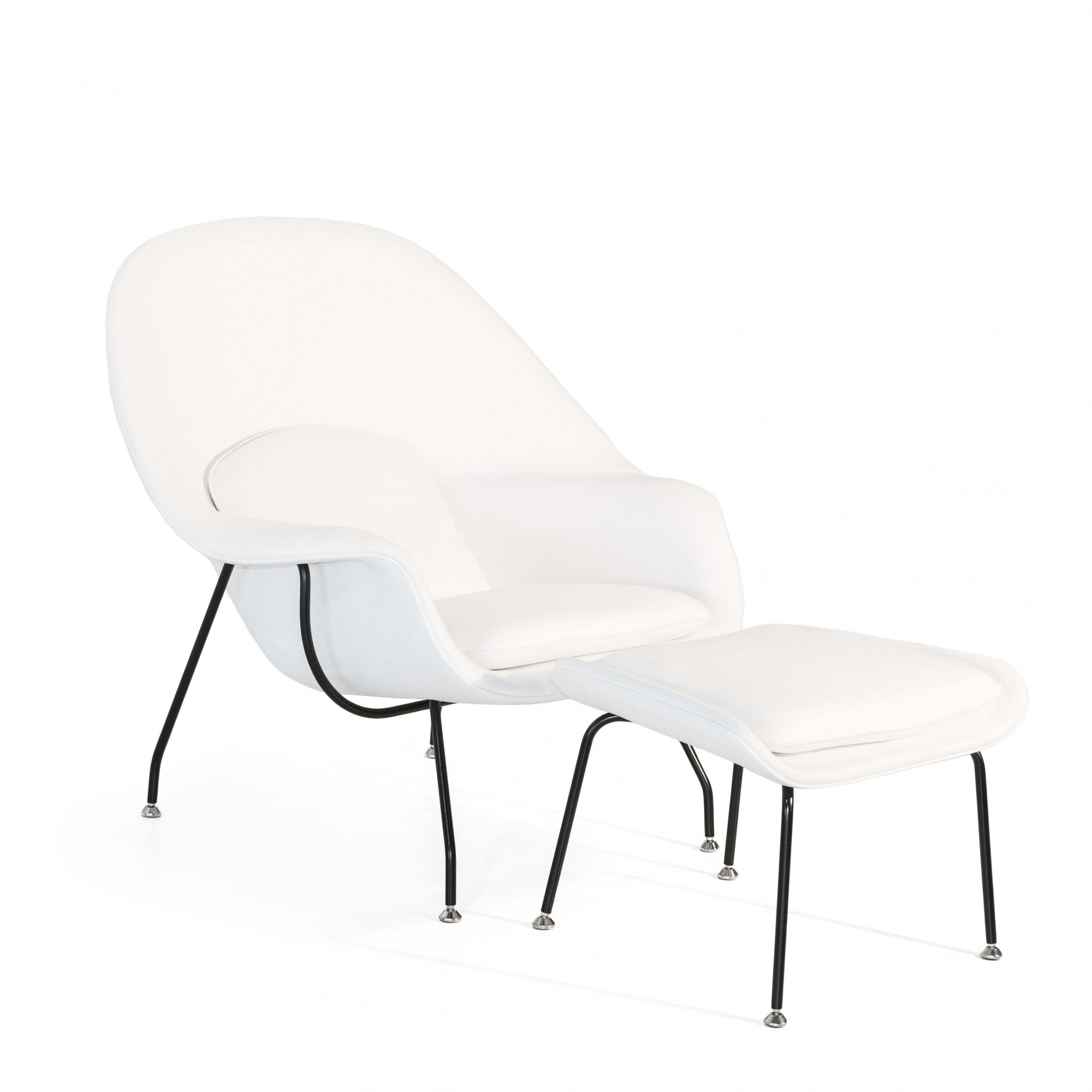 Conjunto Womb Chair, revestimento em Linho Branco (PRONTA-ENTREGA)