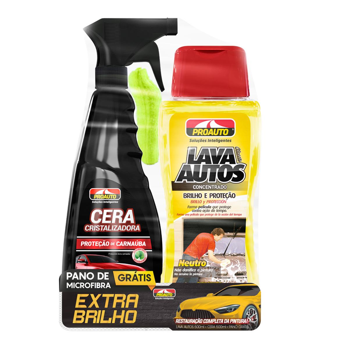 Kit De Limpeza Carro Moto Extra Brilho Proauto Cera Shampoo