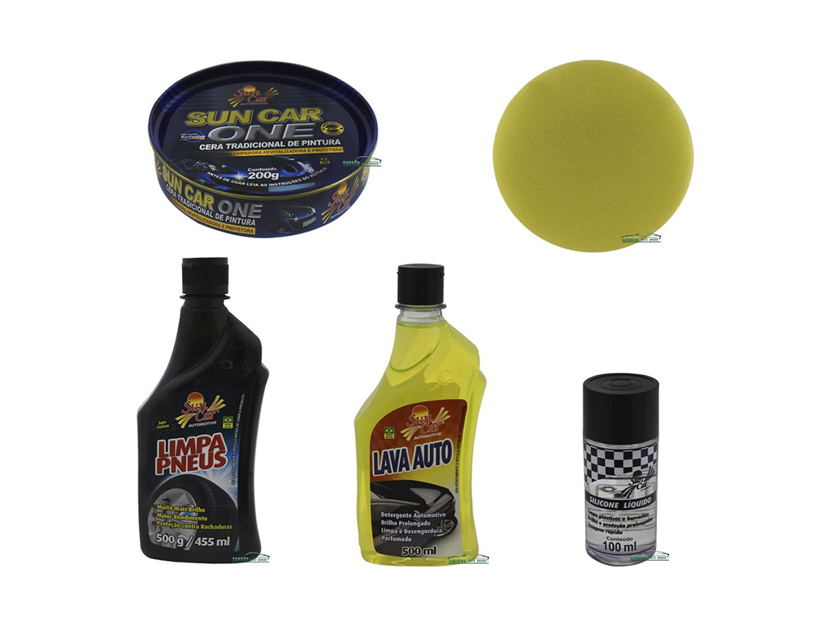 Kit Limpeza Automotiva, Cera, Lavador, Pretinho e Silicone