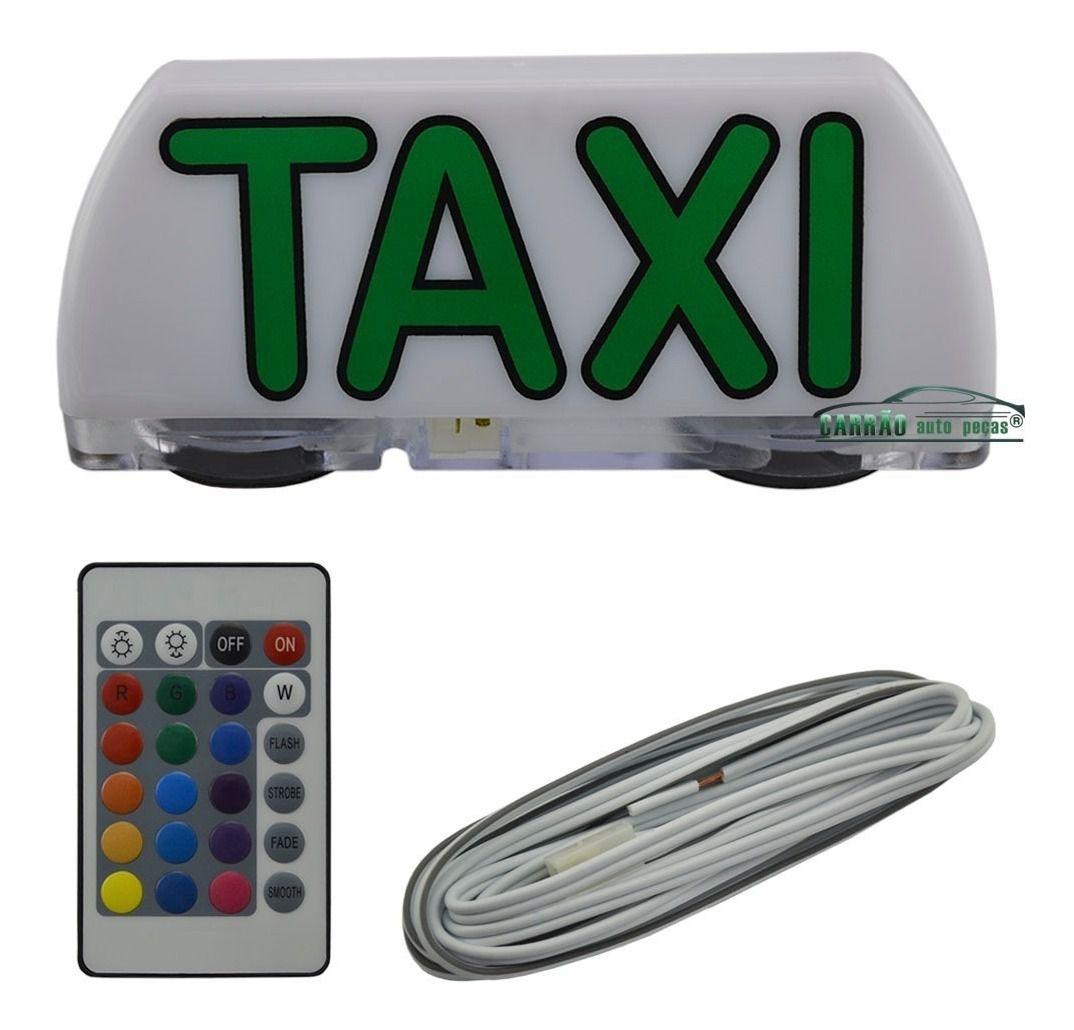 Luminoso De Táxi Led Modelo Mini Com Controle Remoto
