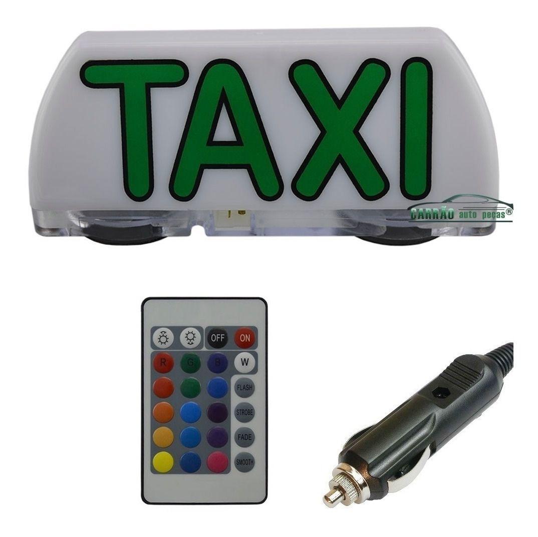 Luminoso De Táxi Led Modelo Mini Com Controle Remoto e Plug Para Acendedor de Cigarros