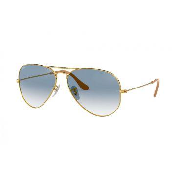 Óculos de Sol Ray-Ban Aviador Dourado com Lente Azul Degradê