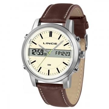 Relógio Masculino Lince Prata/Couro MAC 4489S