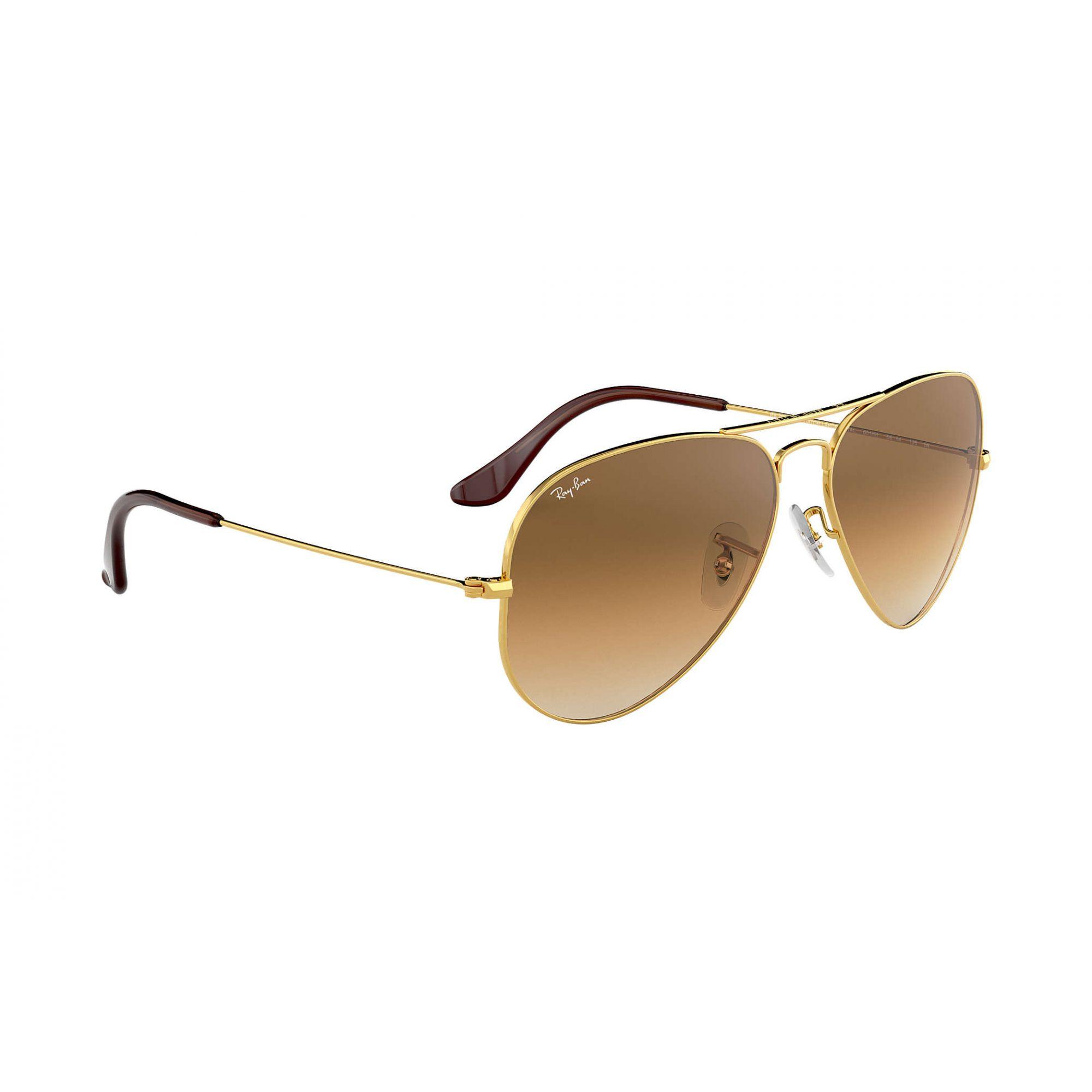 Óculos de Sol Ray-Ban Aviador Dourado com Lentes Marrom