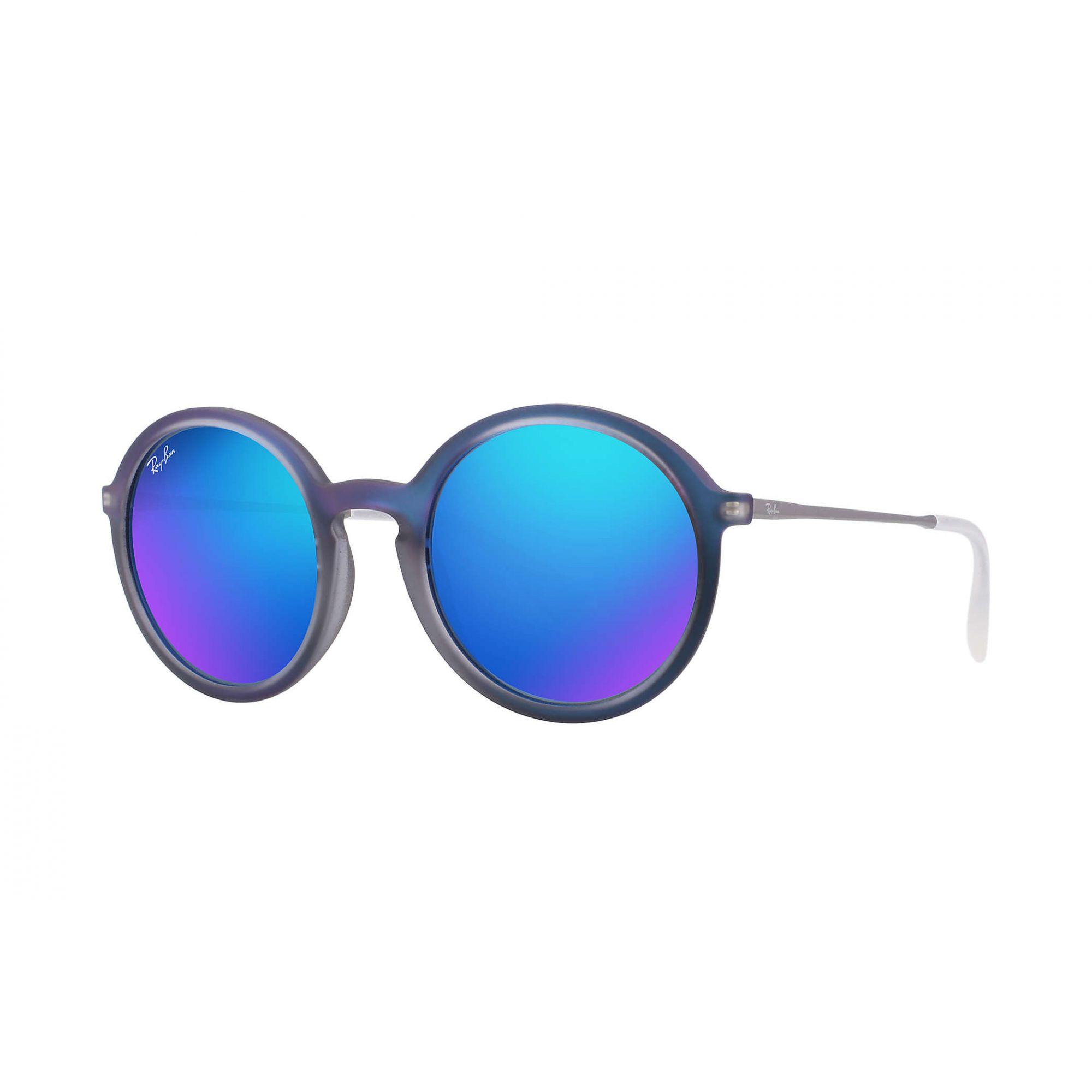 Óculos de Sol Feminino Ray-Ban Round Youngster Azul Espelhado