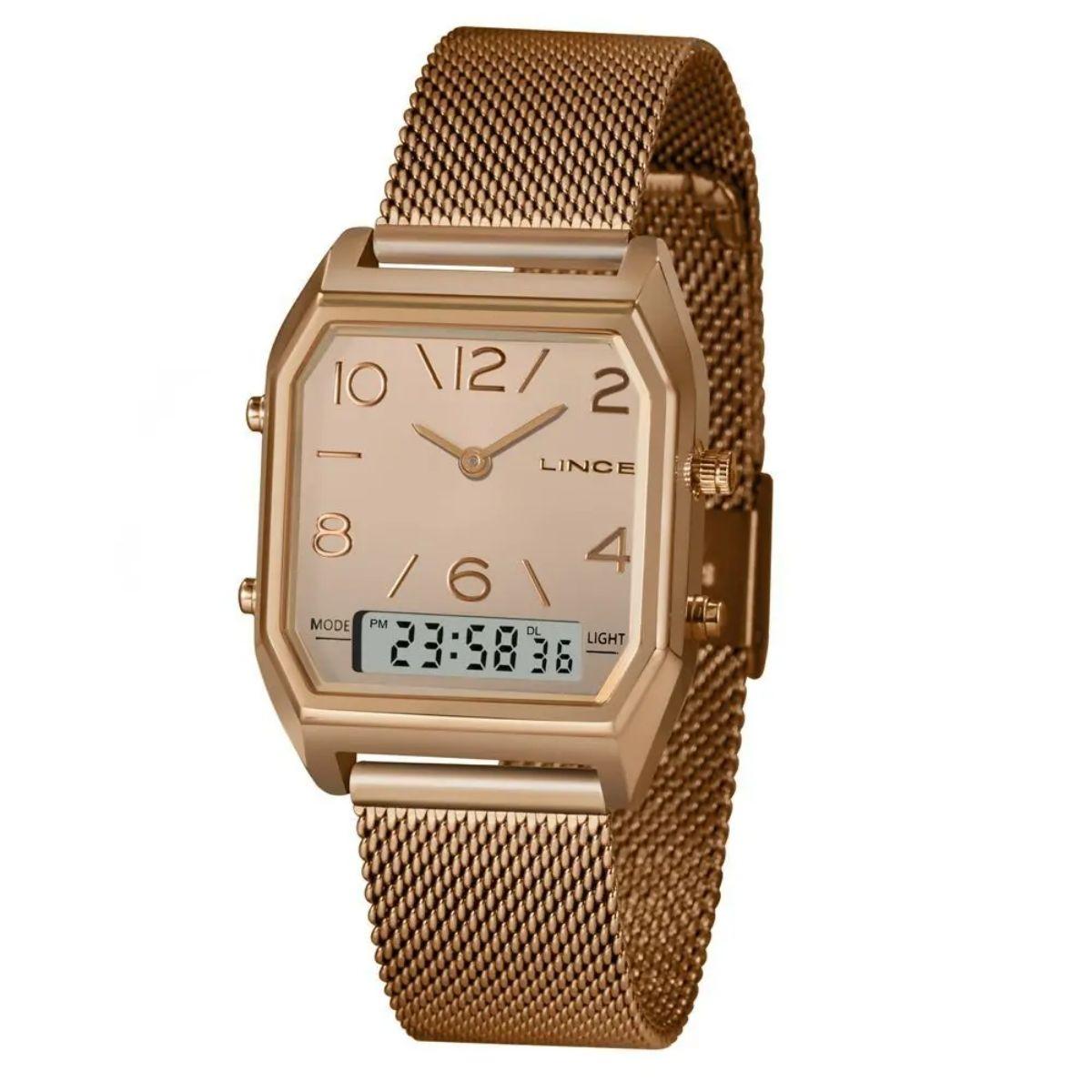 Relógio Feminino Lince Rosê/Preto LARH118L