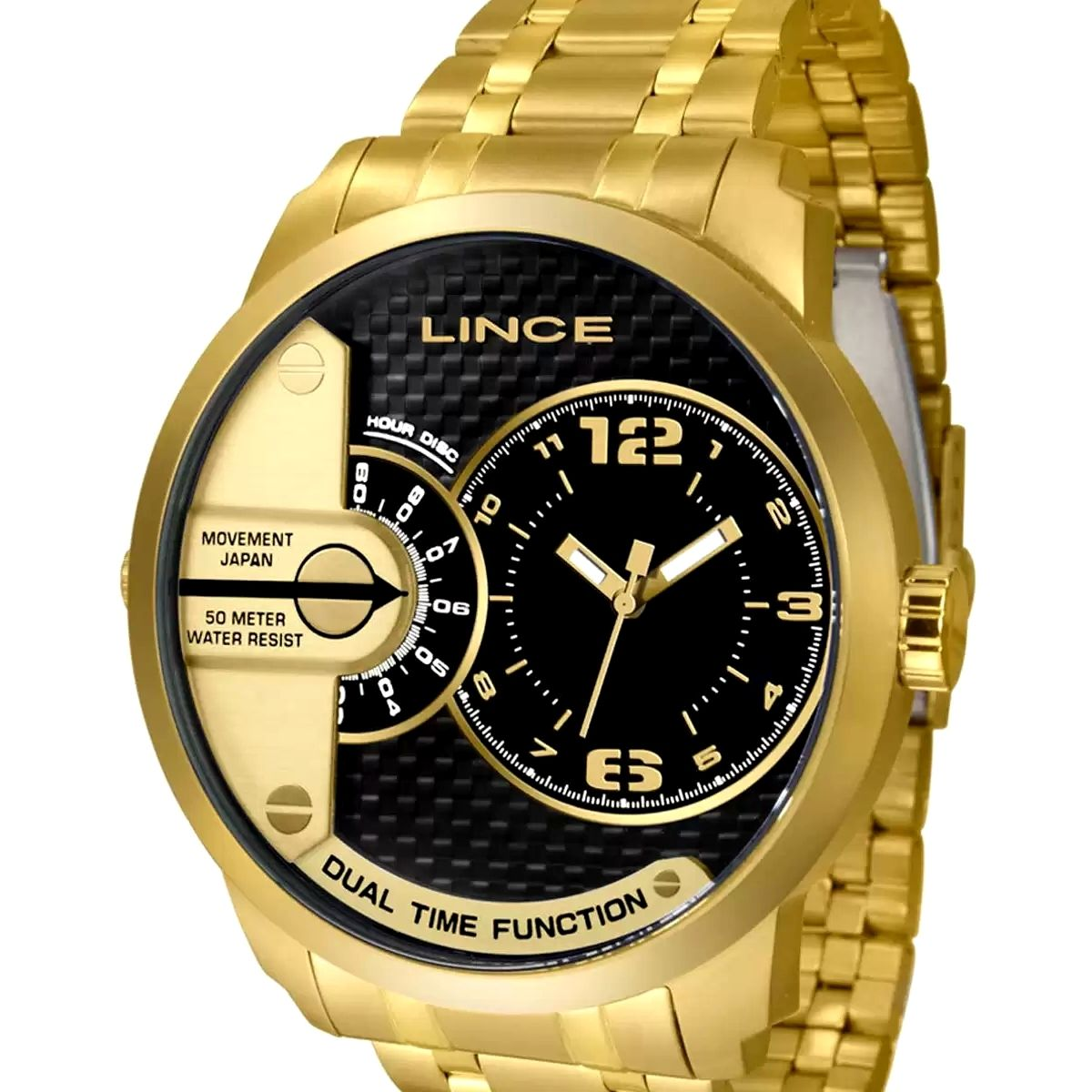 Relógio Masculino Lince Dourado MRG 049L