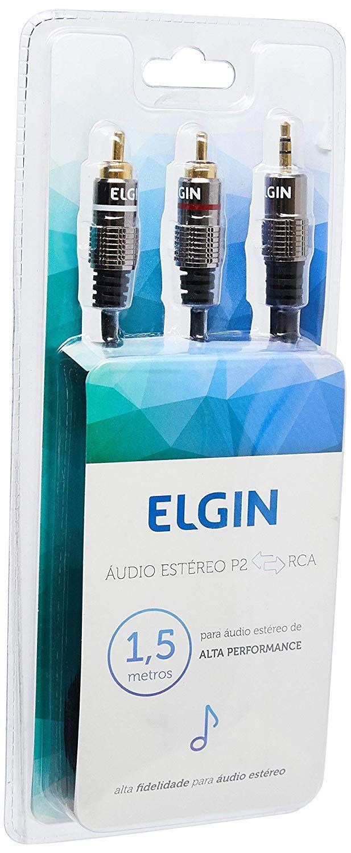 Cabo De Áudio Estéreo P2 3,5mm X 2 Rca 1,5m Caudiorca Elgin