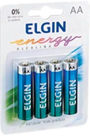 Cartela Com 4 Pilhas Alcalinas Aa Lr6 1,5v Elgin