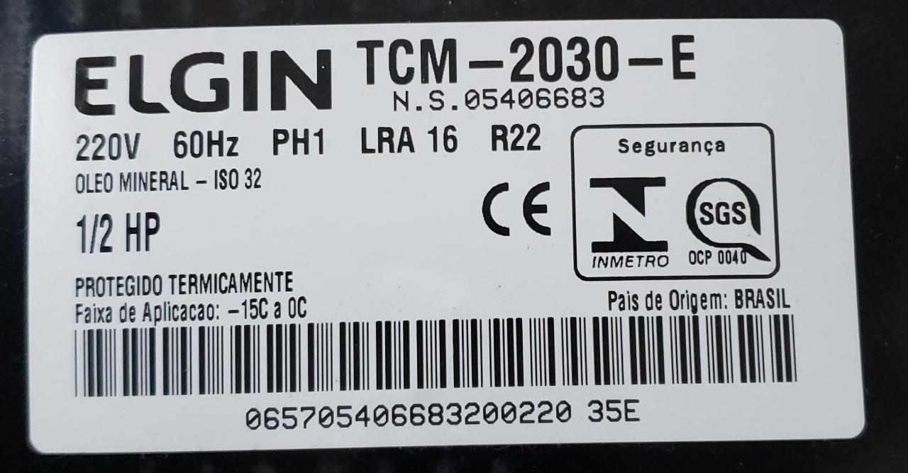 Compressor 1/2 Tcm2030e 220v 60hz R22 Elgin