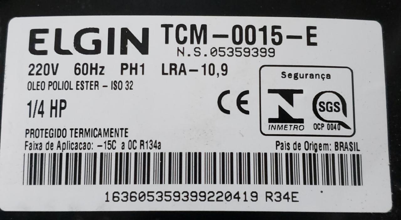 Compressor 1/4hp Tcm0015 220v 60hz R134 Elgin