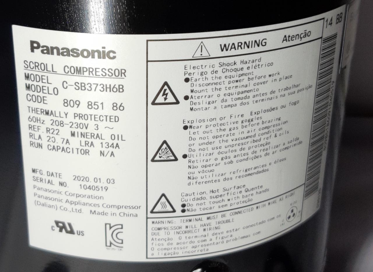 Compressor Scroll 60.000 BTUS R22 373H6B, 5TR, 220V TRIFASICO