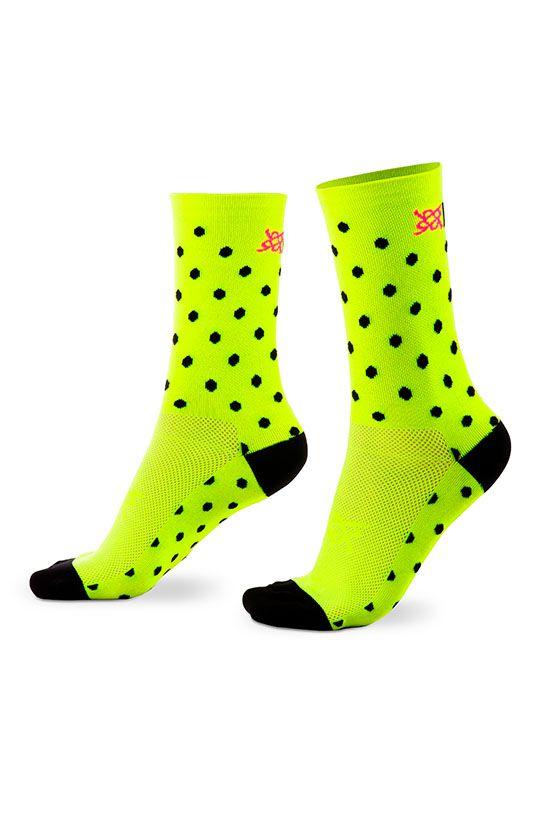 Meia HUPI Amarelo Neon Dots - LT para pés menores 34-38