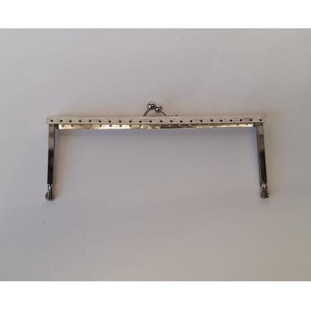 Armação 16cm x 6cm Desenhada com furos p/ costura Niquelada