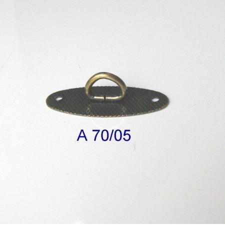 Puxador Oval Argola Fixa Ouro Velho