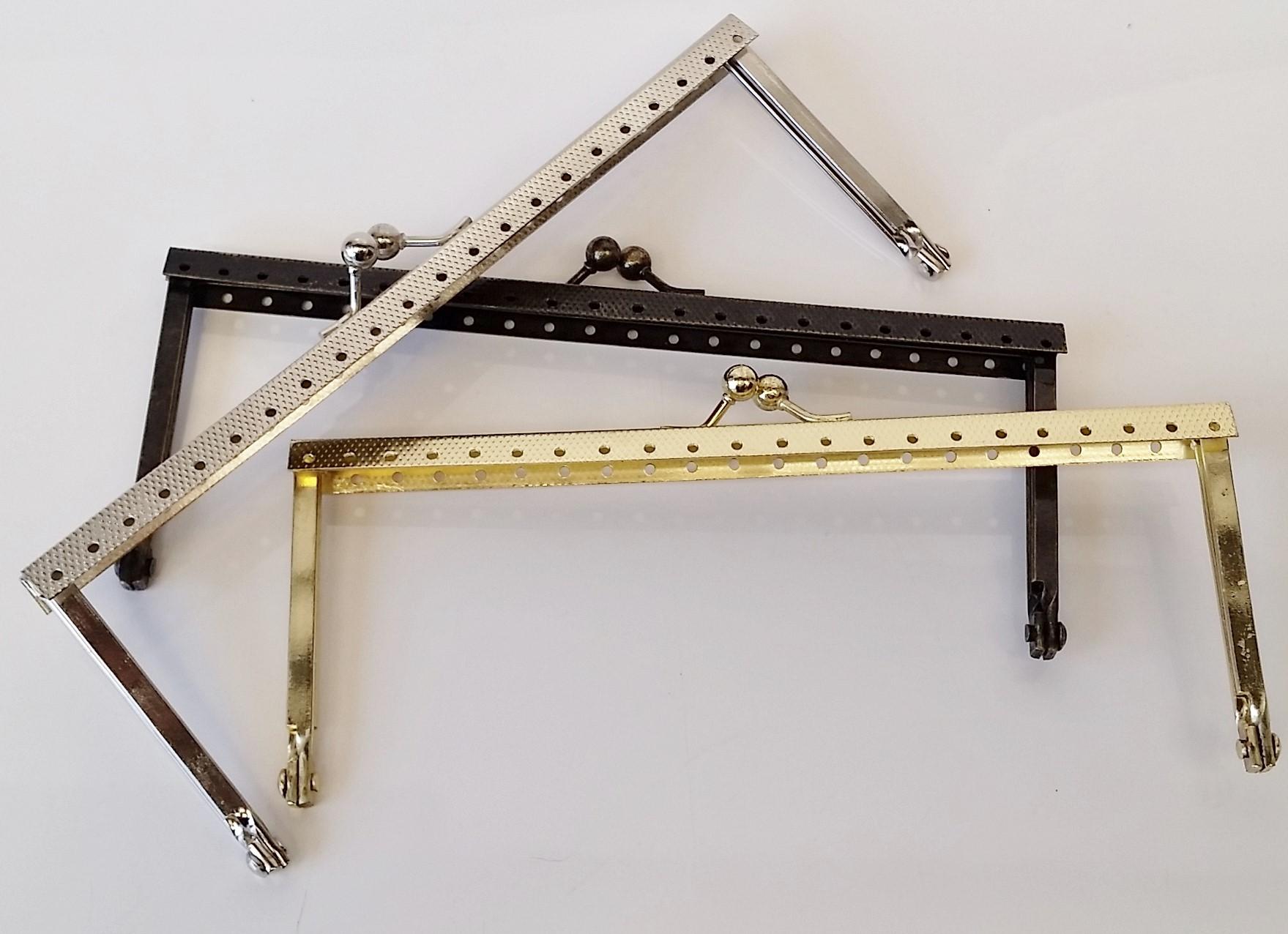 Armação 16cm x 6cm Gravada com furos p/ costura Ouro Velho