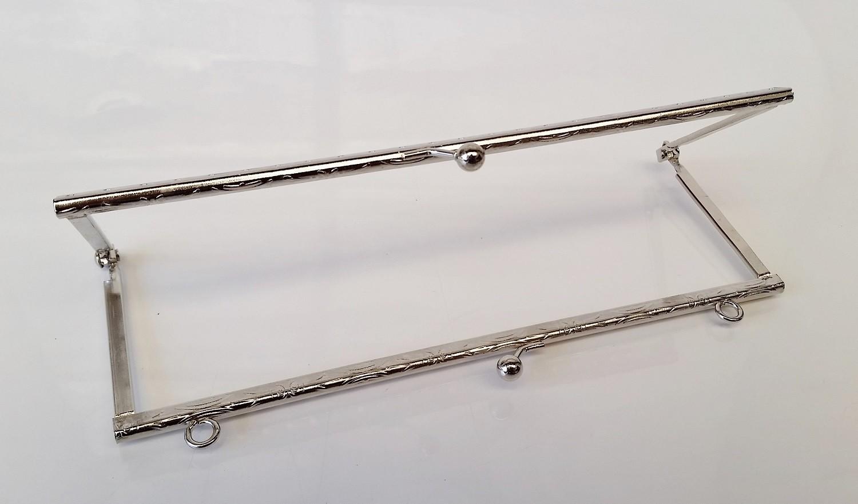Armação 18cm x 6cm Desenhada c/ furos e argolas Niquelada