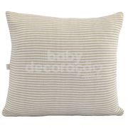 Almofada Decorativa Quadrada Tricot  Benjamin Bege com Branco