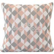Almofada Decorativa Quadrada Tricot Celine Rosê, cinza e branco