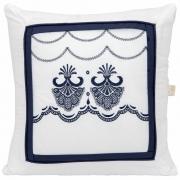 Almofada Decorativa Quadrada Percal 300 Fios Elegance Branco com Azul Marinho