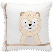 Almofada Decorativa Quadrada Percal 300 Fios Escandinavo Leão Branco