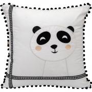 Almofada Decorativa Quadrada Percal 300 Fios Escandinavo Panda Branco c/ Preto