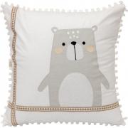 Almofada Decorativa Quadrada Percal 300 Fios Escandinavo Urso Branco