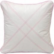 Almofada Decorativa Quadrada Percal 300 Fios Nervura Branco com Rosa