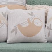 Almofada Decorativa Quadrada Tricot Fauna Bicho Preguiça