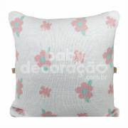 Almofada Decorativa Quadrada Tricot  Jasmine Rosa com branco