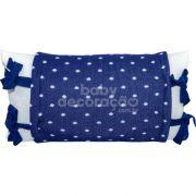 Almofada Decorativa Retangular Tricot Meia Malha Branco com Avental Elliot Azul marinho com branco