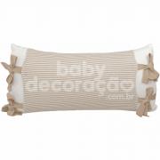 Almofada Decorativa Retangular Tricot Meia Malha Branco com Avental Benjamin Bege com branco