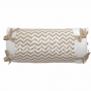 Almofada Decorativa Retangular Tricot Meia Malha Branco com Avental Sebastian Bege com branco