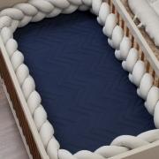 Cobre Leito de Berço Avulso Matelassê 300 fios Azul Marinho