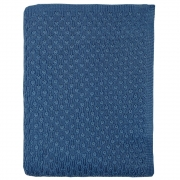 Cobre Leito Para Berço Tricot Pipoca Blue Jeans
