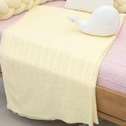 Cobre Leito Para Cama Auxiliar Tricot  Lauren  Amarelo Bebê