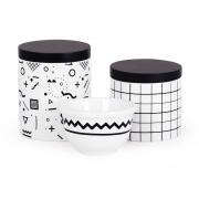 Kit Higiene 03 Peças Moderno Preto e Branco