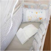 Kit Mini Berço 07 Peças Trança Babys Cinza