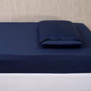 Lençol para Mini Berço c/ Elastico 02 Peças Percal 300 Fios Azul Marinho