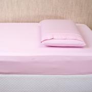 Lençol para Mini Berço c/ Elastico 02 Peças Percal 300 Fios Rosa