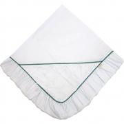Manta para Bebê Percal 300 fios Nervurada Branco com Verde Balsamo