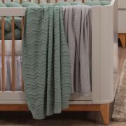 Manta para Bebê Tricot Woof Verde Oliva Fauna