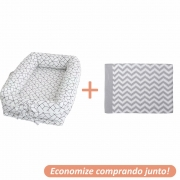 Ninho Redutor Geometric + Manta Sebastian Cinza c/ Branco