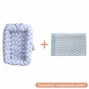 Ninho Redutor Whish + Manta Sebastian Azul Bebê c/ Branco