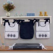 Porta Fraldas para bebê 03 peças Percal 300 Fios Elegance Branco Com Azul Marinho