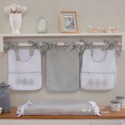 Porta Fraldas para bebê 03 peças Percal 300 Fios Elegance Branco Com Cinza