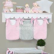 Porta Fraldas para bebê 03 peças Percal 300 Fios Rosa