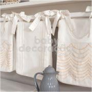 Porta Fraldas para bebê 03 peças Percal 300 Fios Ashley Marfim