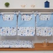 Porta Fraldas para Bebê 03 Peças Fundo do Mar 130 Fios Azul Bebe